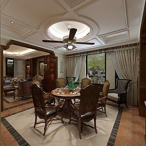 华侨城现代美式风格一层餐厅装修效果图