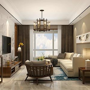 林荫大院127平三室二厅新中式风格装修案例