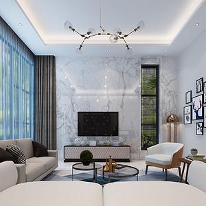 客厅简洁的墙面处理,干净舒适的家具布