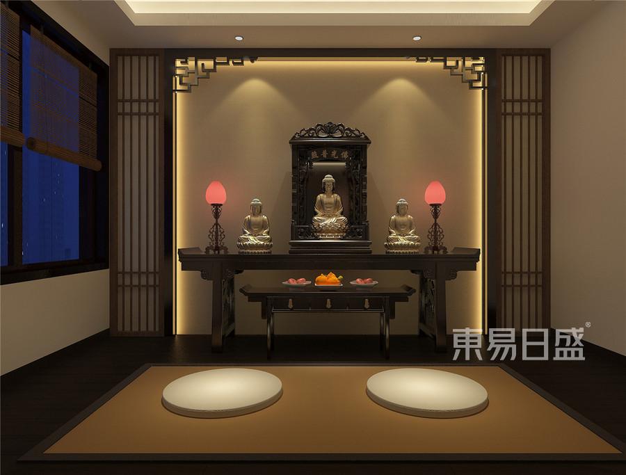 檀府新中式风格二楼佛堂装修效果图