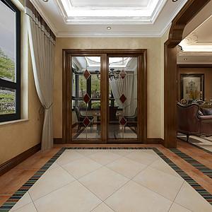 华侨城现代美式风格一层后门厅效果图