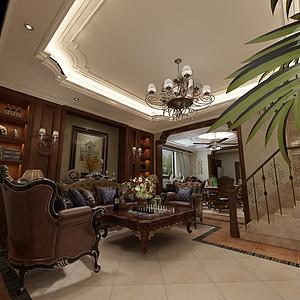 华侨城现代美式风格一层客厅装修效果图