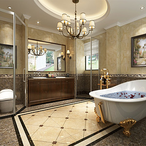 同辉别墅360㎡新中式装修风格浴室