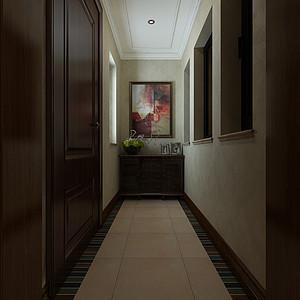 华侨城现代美式风格一层入户装修效果图