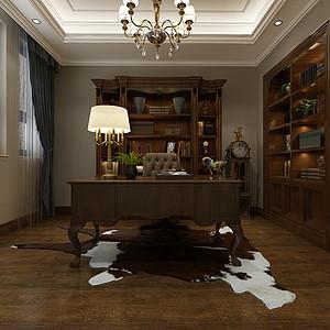 华侨城现代美式风格一层书房装修效果图