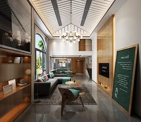 东坑碧桂园别墅现代极简客厅装修效果图