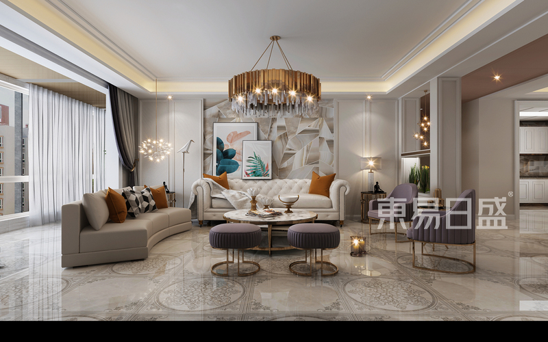 现代混塔风格-客厅-装修效果图