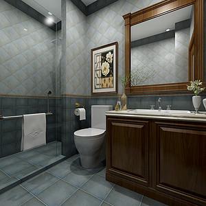 华侨城现代美式风格一层卫生间效果图