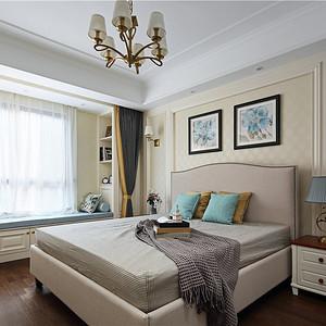 现代美式卧室实景图