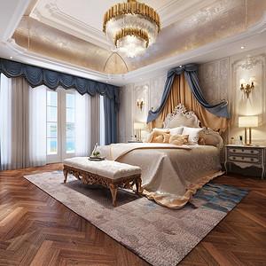 湖畔林语550法式新古典卧室效果图