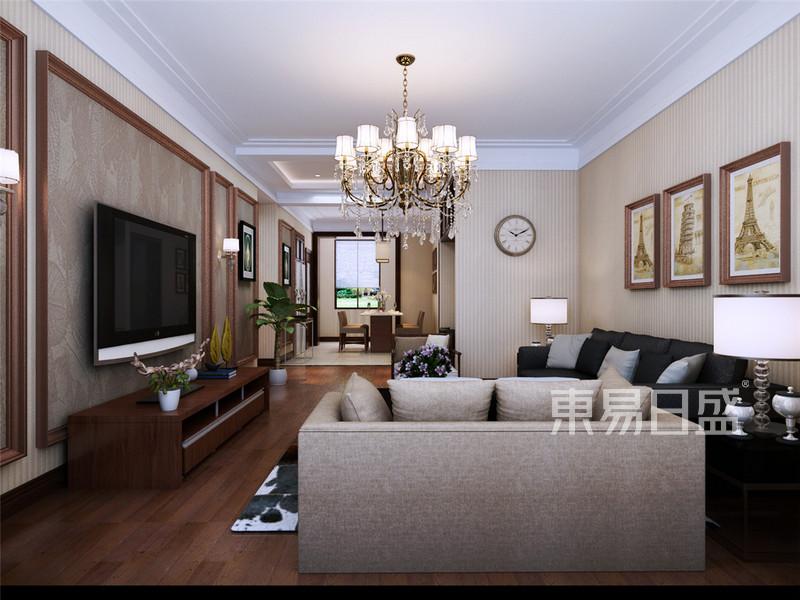 路劲太阳城现代简约风格客厅装修效果图