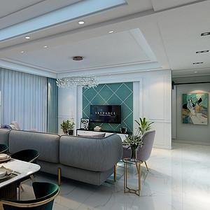 140㎡四居室现代轻奢风格餐厅效果图