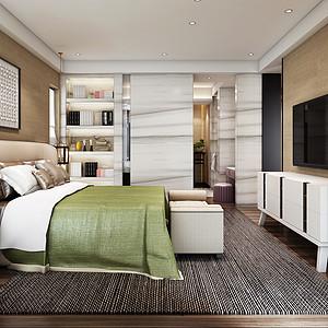 水岸公馆现代风格卧室装修效果图