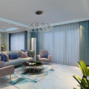 140㎡四居室现代轻奢风格客厅效果图