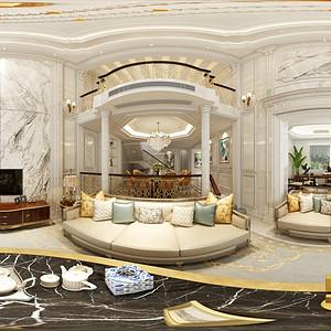 湖畔林语550法式新古典客厅效果图