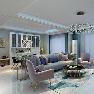 140㎡四居室现代轻奢风格玄关效果图
