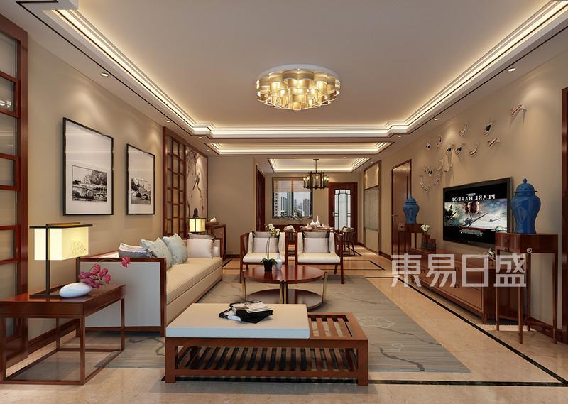 中锐尚城花园新中式客厅