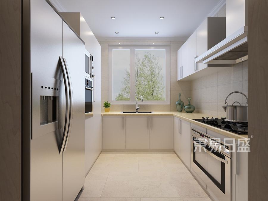 绿地卢浮公馆别墅现代简约厨房装修效果图