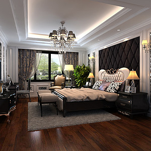 金地自在城欧式古典风格卧室效果图