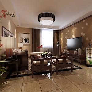丹轩梓园 新中式装修效果图 三室两厅两卫 120