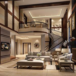 七都别墅630平新中式设计装修效果图