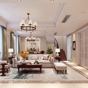 中央洋房236平美式新古典复式客厅