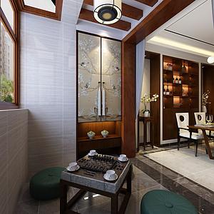现代中式风格-阳台-装修效果图