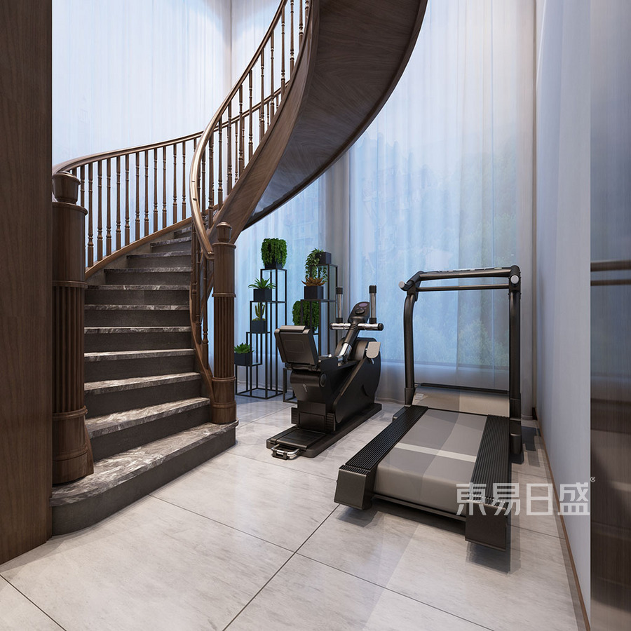 楼梯间此处设计为半圆形旋转楼梯