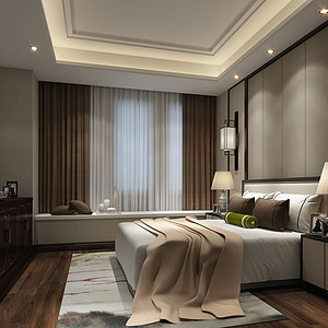 江畔名城复式简中卧室装修效果图