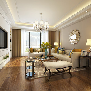 金洋十方庭现代美式风格140平三居室