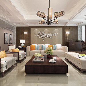 锦绣山河观园五房新中式客厅装修效果图
