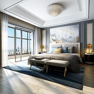 万邦名邸420㎡后现代轻奢卧室效果图