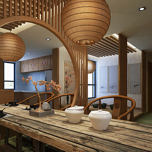华润中央公园 禅意中式风格装修效果图 四居室 135㎡