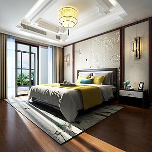 江南一品280㎡新中式风格卧室效果图