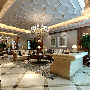 曲江紫汀苑 欧式装修效果图 四室二厅一卫一厨