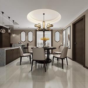 锦绣山河观园五房新中式餐厅装修效果图