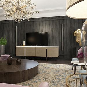 逸翠园御峰 当代美式装修效果图 3室2厅 190㎡