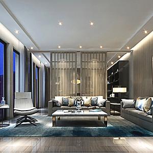 彭公自建别墅500㎡新中式客厅效果图