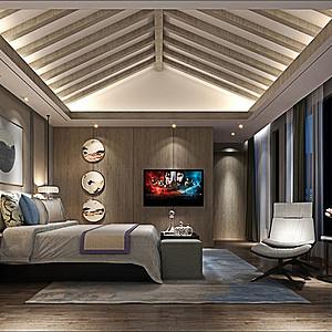 彭公自建别墅500㎡新中式卧室效果图
