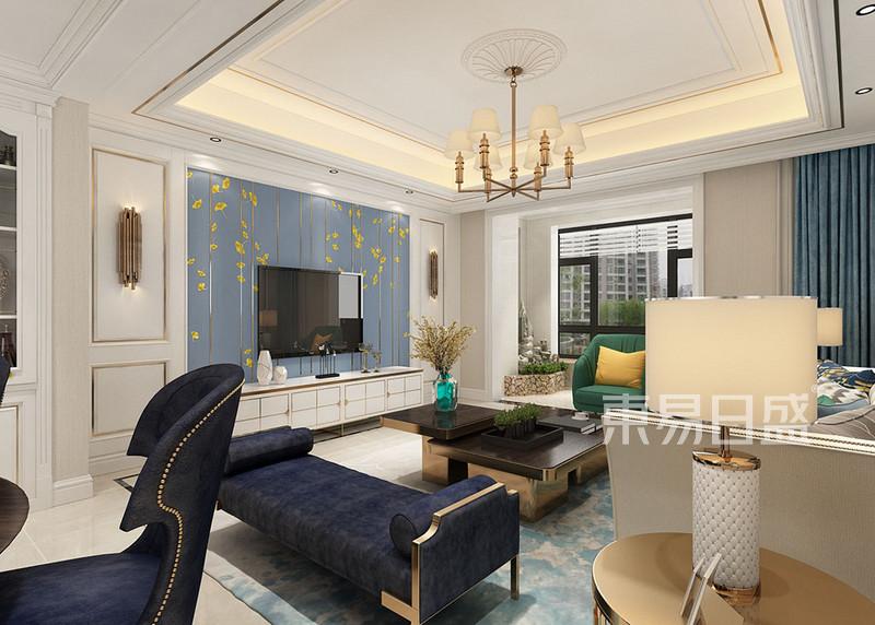 客厅电视背景墙以米色压铜条护墙板效果图_装修效果图