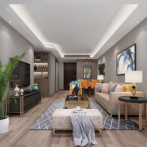 西溪璞园89㎡现代风格客厅效果图