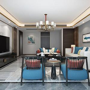 湖城大境八号地 新中式风格装修效果图 五室三厅 380㎡