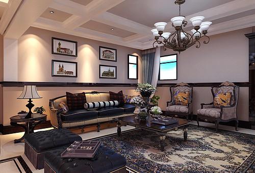 林隐天下-169平米-现代美式风格别墅装修案例效果图
