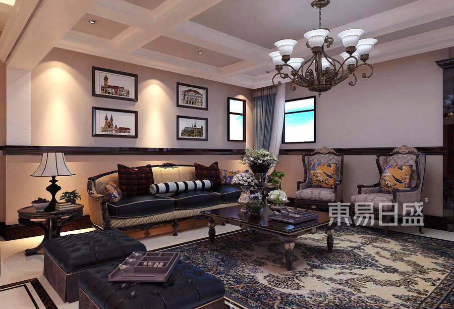 林隐天下现代美式风格客厅装修案例效果图