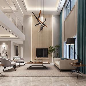 客厅挑空的大空间,将空间拉伸