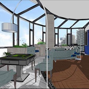 湘江豪庭220平米现代风格阳台娱乐区