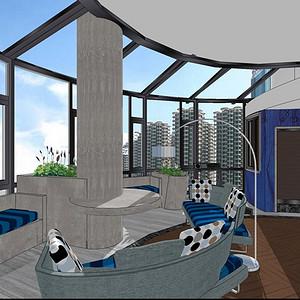 湘江豪庭220平米现代风格阳台休息区