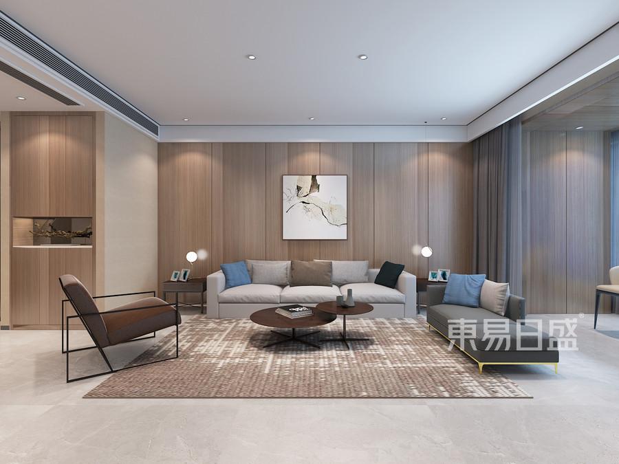东润泰和现代极简风格客厅沙发背景墙效果图_2019装修图片