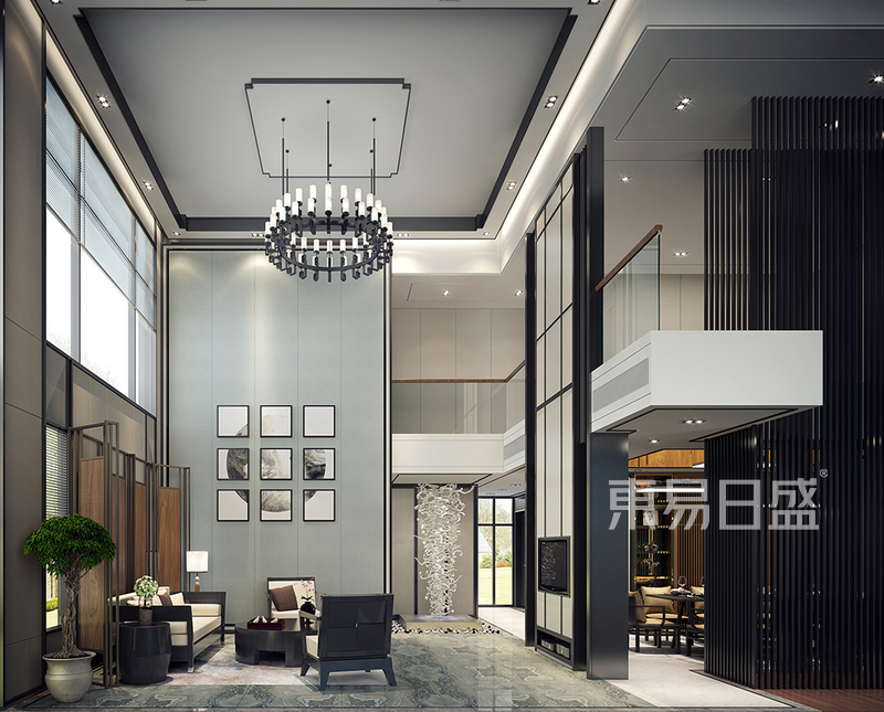 新中式 - 会客室效果图_装修效果图大全2018图片