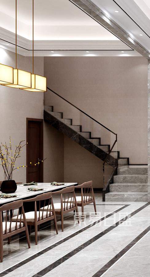 佛山里水第一城403㎡现代新中式风格别墅餐厅装修效果图
